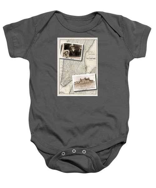 Vintage New York Map With Ellis Island Baby Onesie