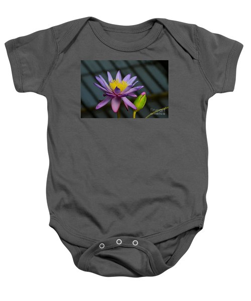 Violet And Yellow Water Lily Flower With Unopened Bud Baby Onesie