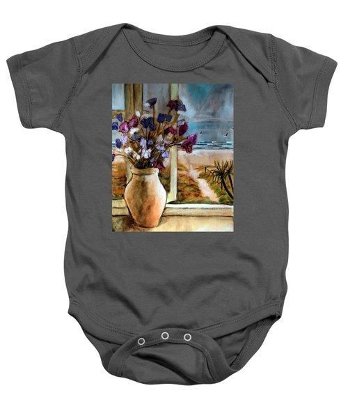 Violet Beach Flowers Baby Onesie by Winsome Gunning