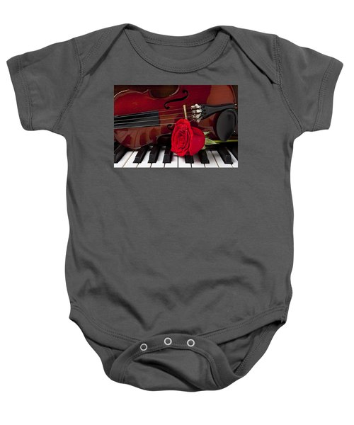 Violin And Rose On Piano Baby Onesie