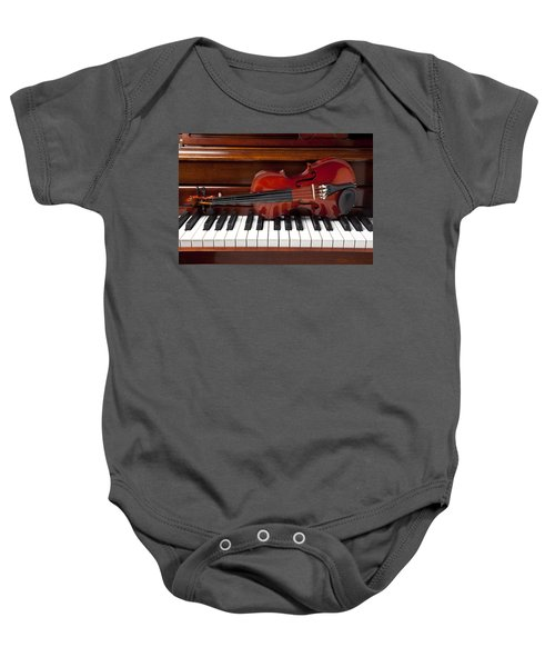 Violin On Piano Baby Onesie