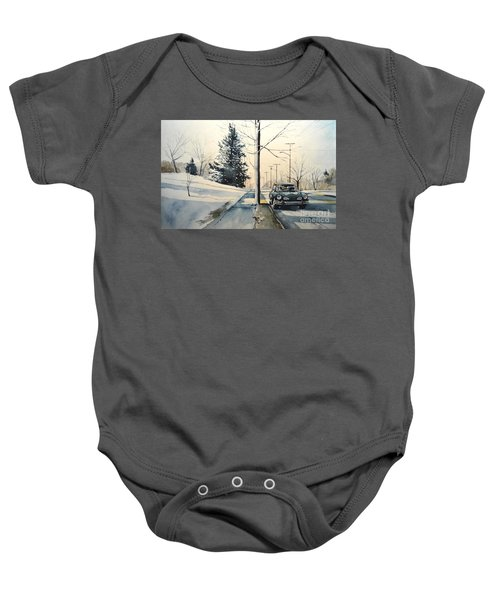 Volkswagen Karmann Ghia On Snowy Road Baby Onesie