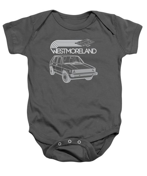 Vw Rabbit - Westmoreland Theme - Gray Baby Onesie by Ed Jackson
