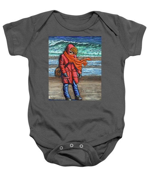 Walk On Beach Baby Onesie