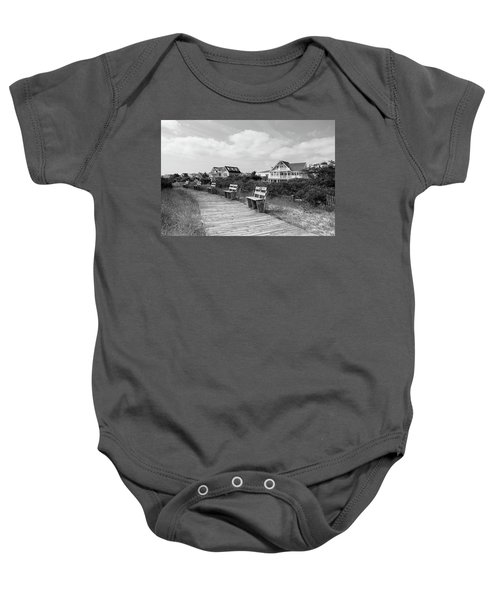 Walk Through The Dunes In Black And White Baby Onesie