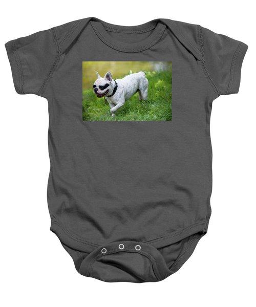 Walking French Bulldog  Baby Onesie