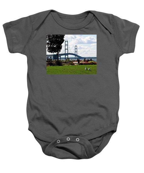 Walking To The Bridge Baby Onesie