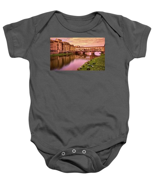 Sunset At Ponte Vecchio In Florence, Italy Baby Onesie