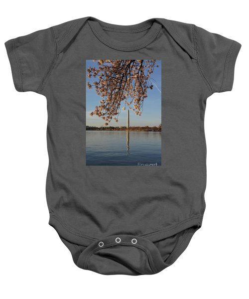 Washington Monument With Cherry Blossoms Baby Onesie by Megan Cohen
