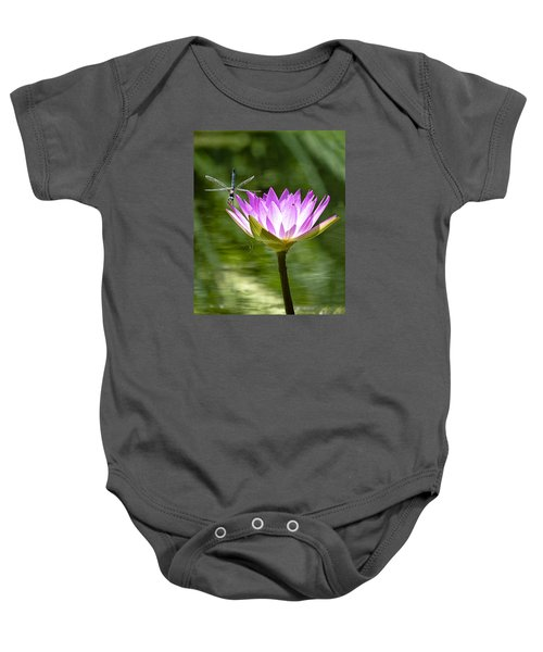 Water Lily With Dragon Fly Baby Onesie