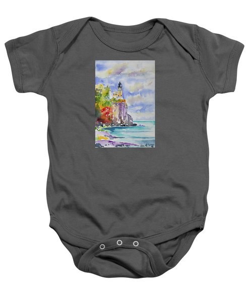 Watercolor - Autumn At Split Rock Lighthouse Baby Onesie