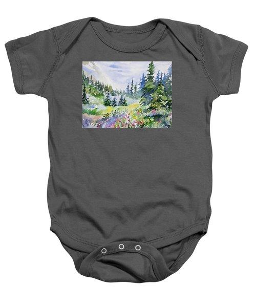 Watercolor - Colorado Summer Scene Baby Onesie