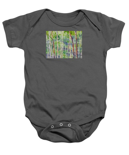 Watercolor - Magical Aspen Forest After A Spring Rain Baby Onesie