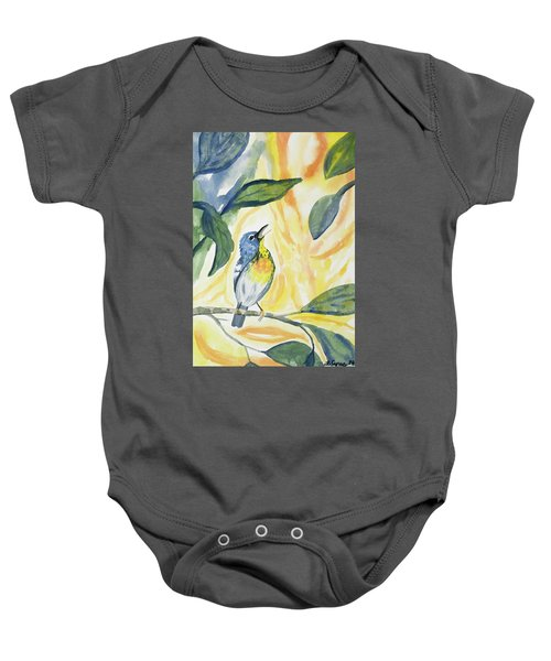 Watercolor - Northern Parula In Song Baby Onesie