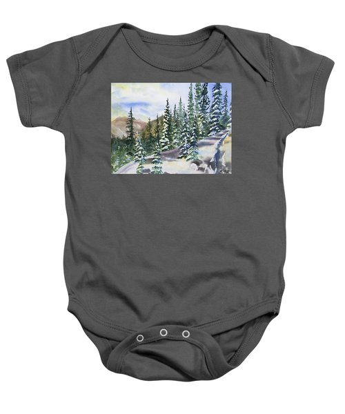 Watercolor - Winter Snow-covered Landscape Baby Onesie