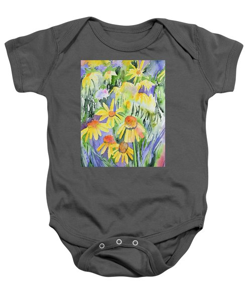 Watercolor - Yellow Rocky Mountain Wildflowers Baby Onesie