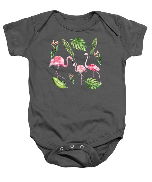 Baby Onesie featuring the painting Watercolour Flamingo Family by Georgeta Blanaru
