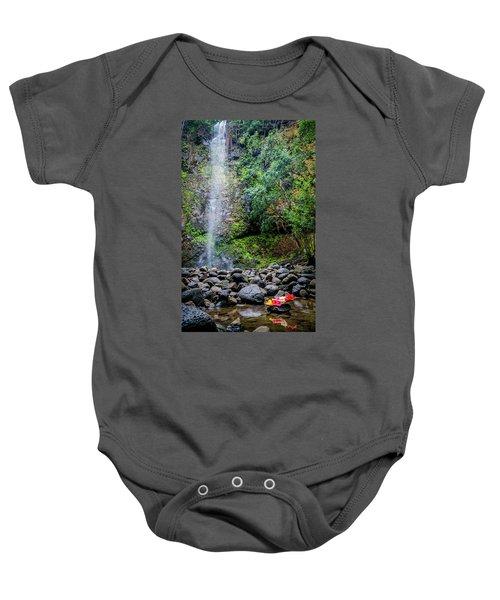 Waterfall And Flowers Baby Onesie