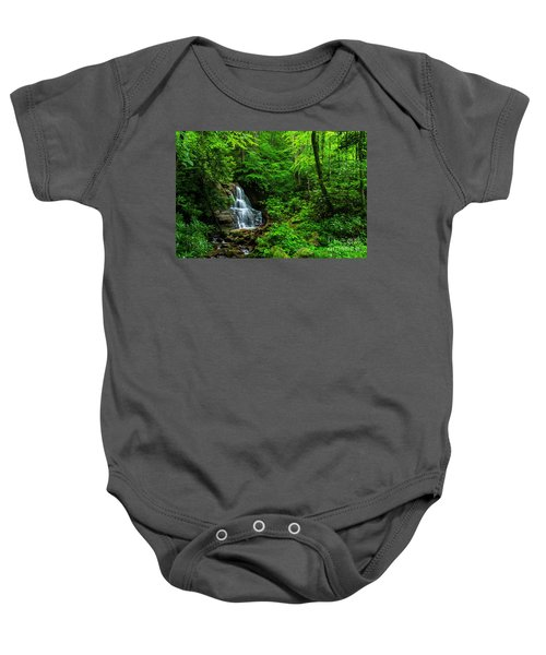 Waterfall And Rhododendron In Bloom Baby Onesie