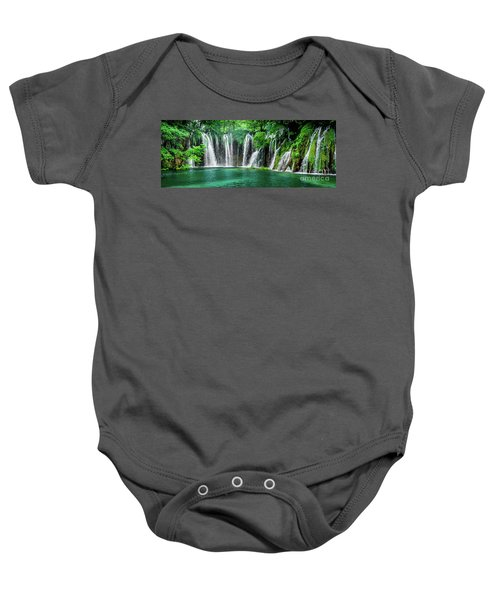 Waterfalls Panorama - Plitvice Lakes National Park Croatia Baby Onesie
