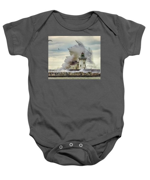 Waves Over The Lighthouse In Cleveland. Baby Onesie