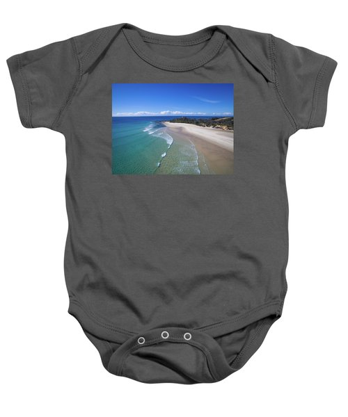 Waves Rolling In To North Point Beach On Moreton Island Baby Onesie