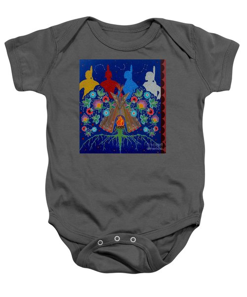 Baby Onesie featuring the painting We Are One Bond by Chholing Taha