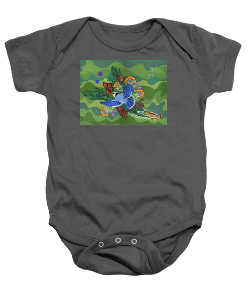 Baby Onesie featuring the painting We Are One by Chholing Taha