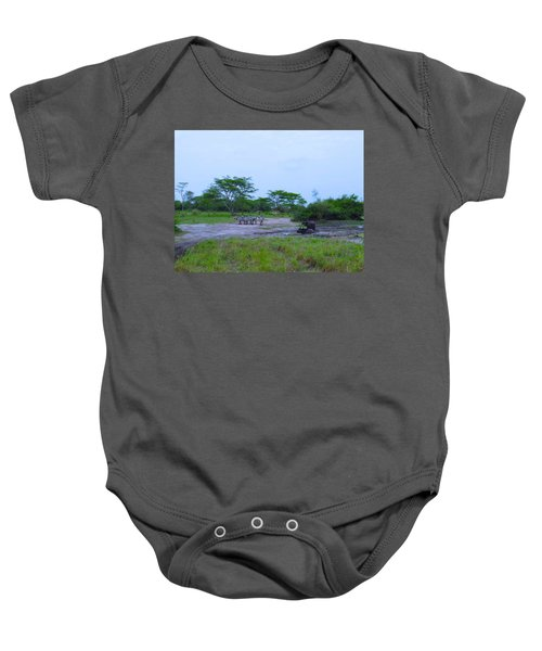 We Live Happily Side By Side Baby Onesie