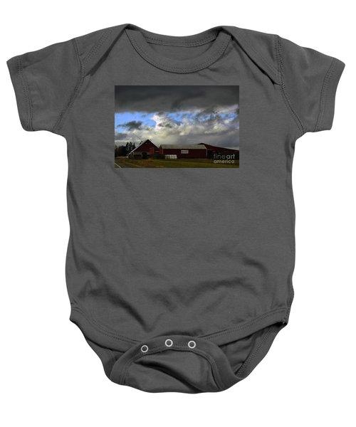 Weather Threatening The Farm Baby Onesie