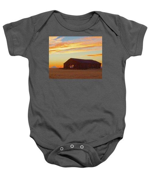 Weathered Barn Sunset Baby Onesie