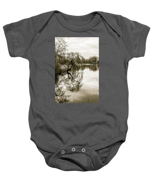 Weeping Willow Tree In The Winter Baby Onesie