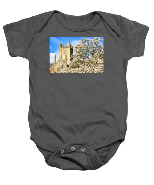 Wells Cathedral And Spring Blossom Baby Onesie