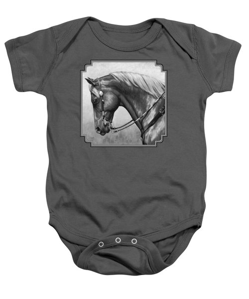 Western Horse Black And White Baby Onesie