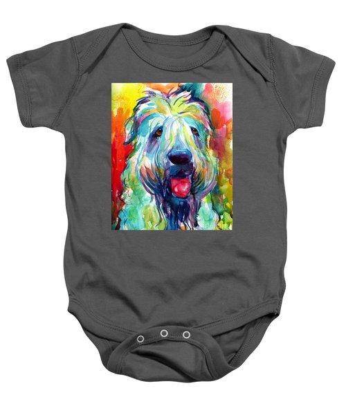 Wheaten Terrier Dog Portrait Baby Onesie by Svetlana Novikova