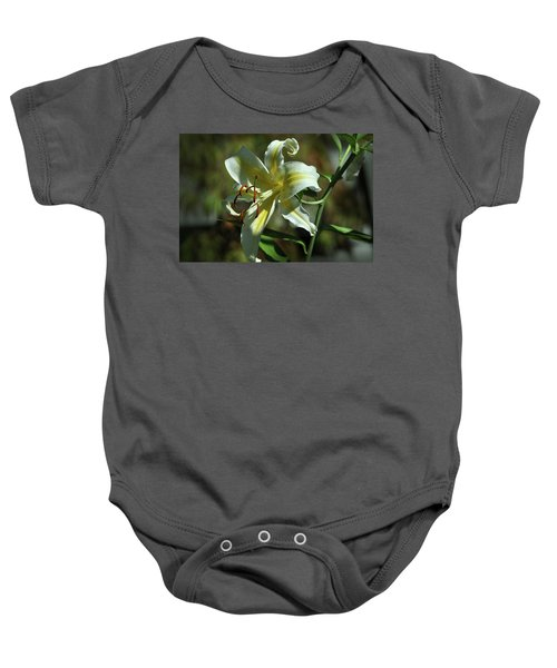 White And Yellow Asiatic Lilly No 1 Baby Onesie