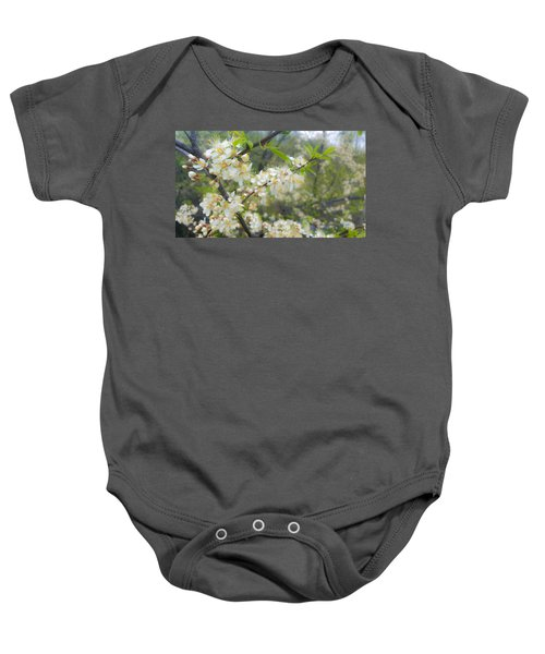 White Blossoms On Fruit Tree Baby Onesie