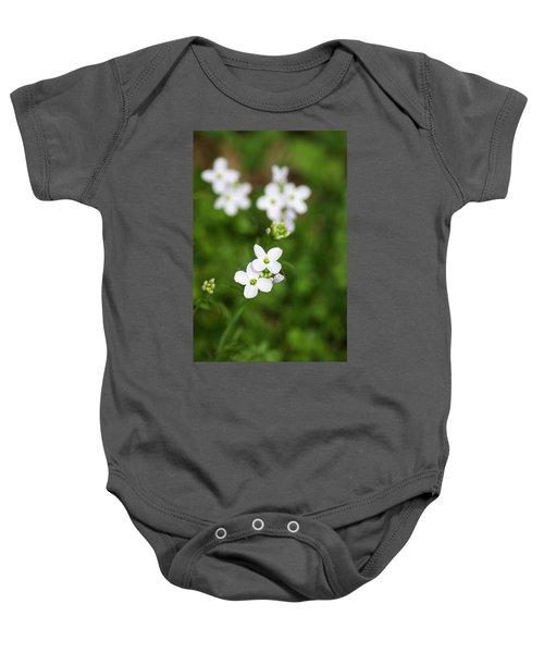 White Cuckoo Flowers Baby Onesie