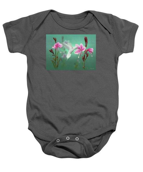 White Hummingbird And Pink Guara Baby Onesie