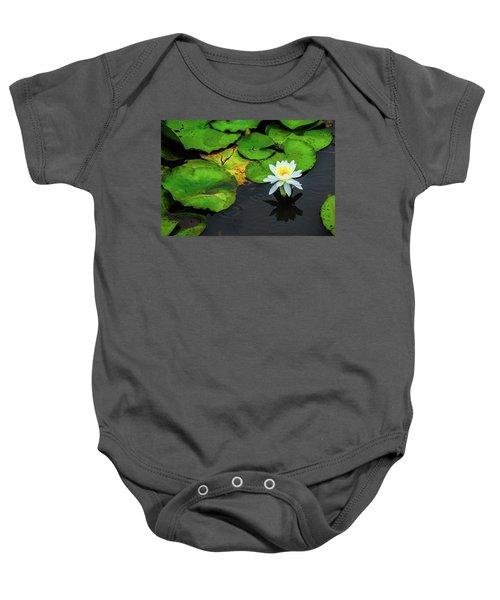 White Lily And Rippled Water Baby Onesie
