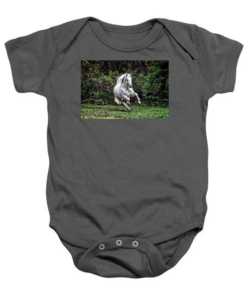 White Stallion Baby Onesie
