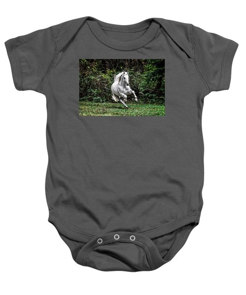 White Stallion Baby Onesie