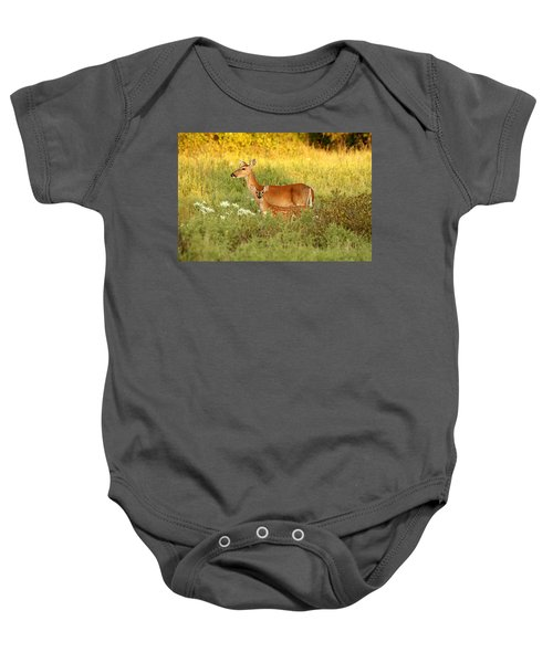 White-tail Doe And Fawn In Meadow Baby Onesie