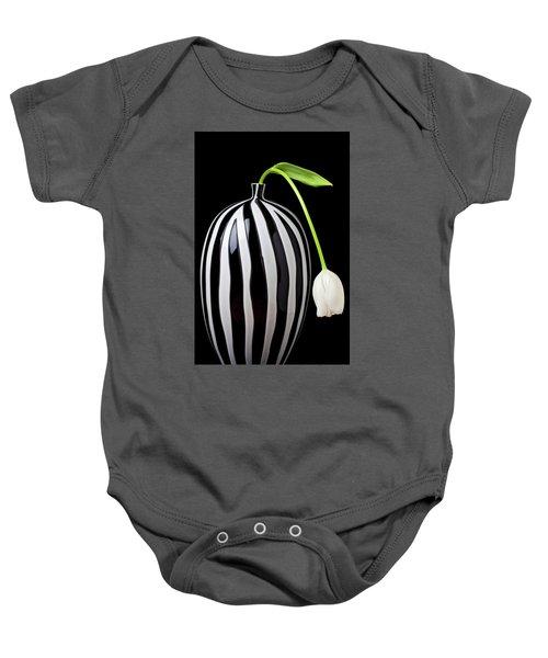 White Tulip In Striped Vase Baby Onesie