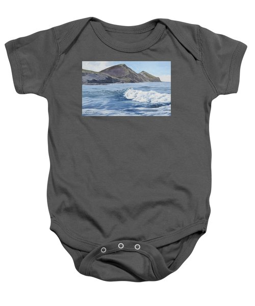 Baby Onesie featuring the painting White Wave At Crackington  by Lawrence Dyer