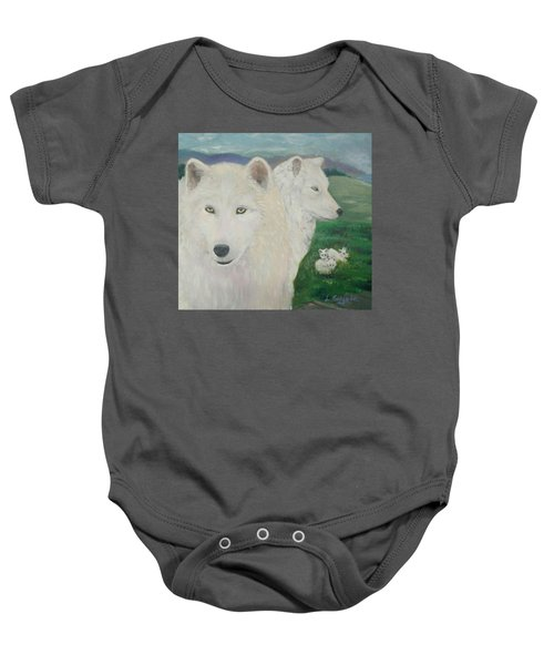 White Wolves Guarding Their Pups Baby Onesie