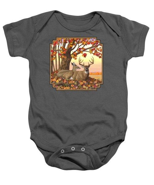 Whitetail Deer - Hilltop Retreat Baby Onesie by Crista Forest
