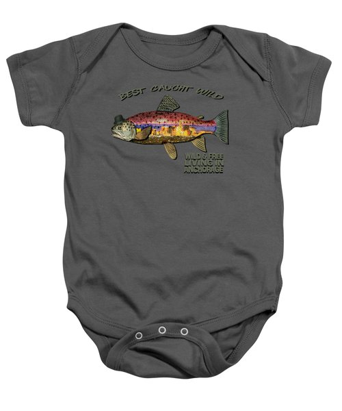 Wild And Free In Anchorage-trout With Hat Baby Onesie by Elaine Ossipov
