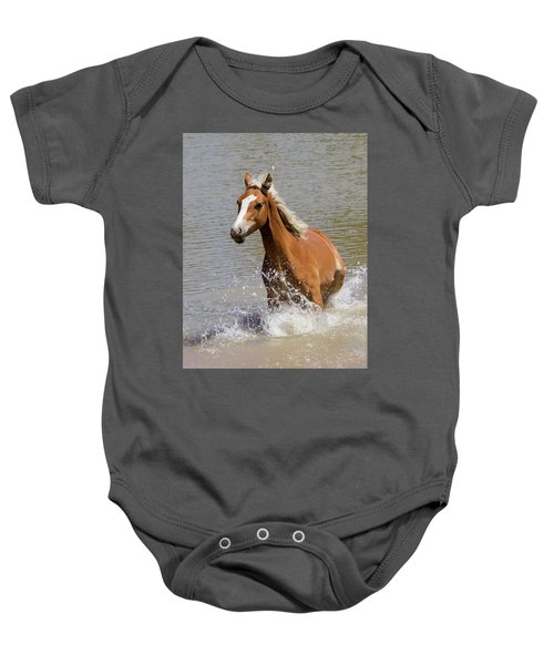 Wild Horse Splashing At The Water Hole Baby Onesie