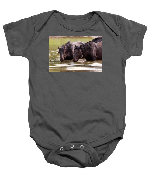 Wild Stallions At The Water Hole Baby Onesie